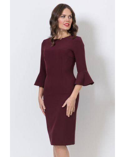 Нарядное с рукавами платье миди с оборками Modellos