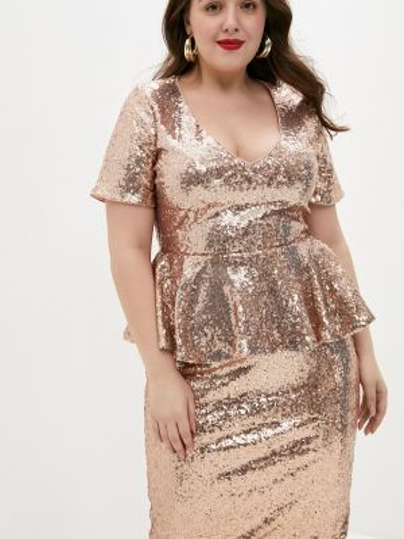 Вечернее платье - бежевое Goddiva Size Plus