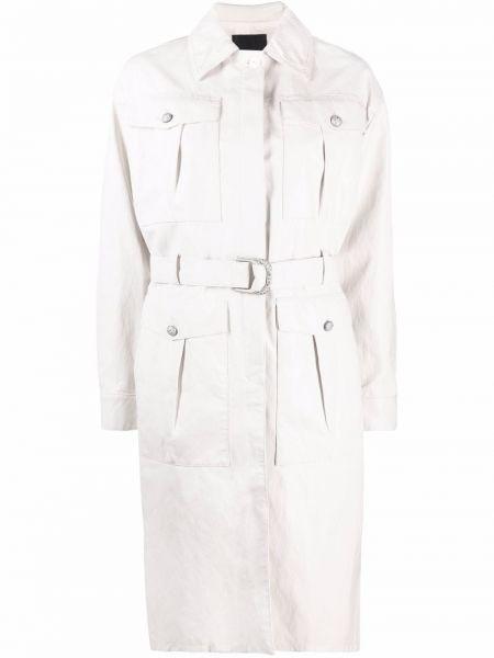 Biały długi płaszcz z paskiem z klamrą Pinko