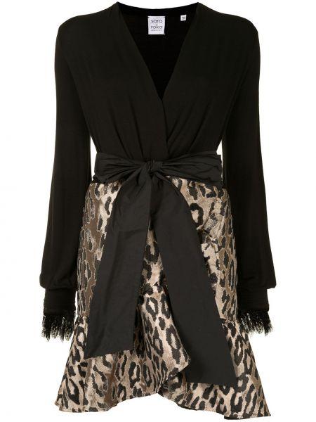 Черное ажурное платье мини с V-образным вырезом с декоративной отделкой Sara Roka