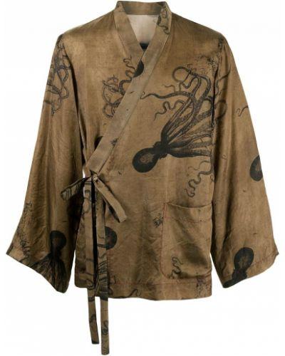 Коричневый удлиненный пиджак с завязками Uma Wang