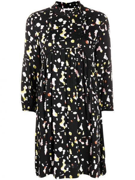Черное платье мини на пуговицах с вырезом круглое Ba&sh