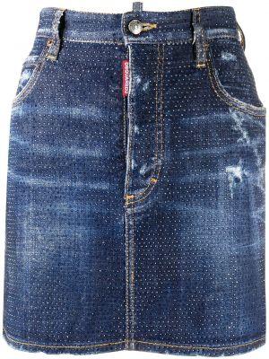 Синяя классическая юбка мини с поясом на пуговицах Dsquared2