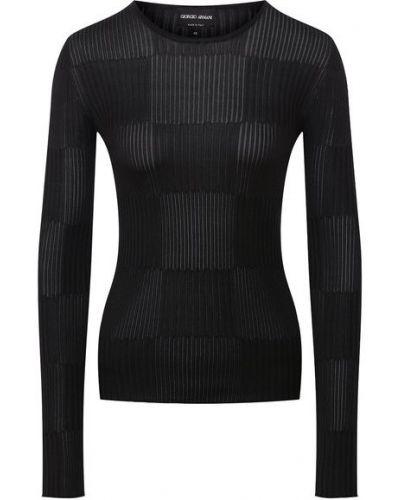 Мягкий шелковый черный пуловер Giorgio Armani