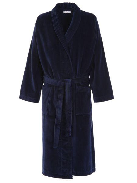 Велюровый темно-синий халат с воротником с поясом Derek Rose
