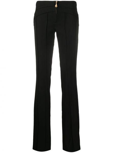 Шерстяные черные расклешенные брюки на молнии Versace Pre-owned