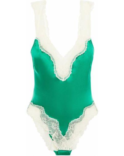 Зеленое кружевное сатиновое боди Stella Mccartney