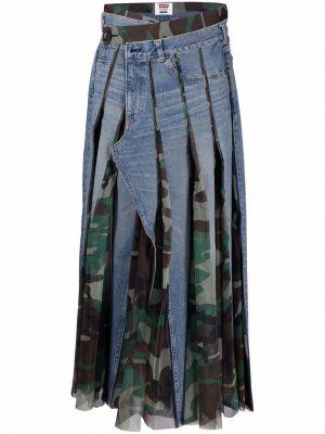 Кожаная юбка макси - синяя Junya Watanabe