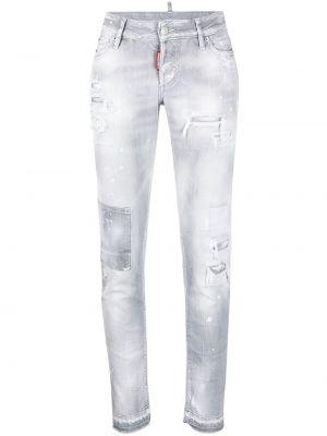 Серые зауженные джинсы на молнии с завышенной талией Dsquared2