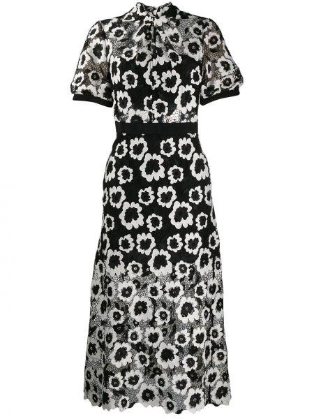 Черное расклешенное платье мини с воротником с вырезом Self-portrait