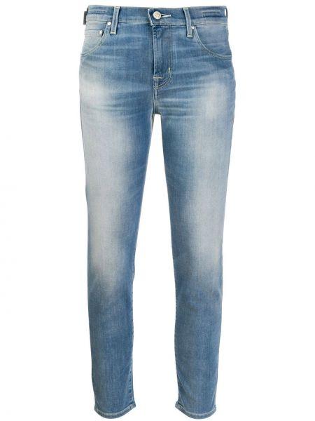 Синие укороченные джинсы на пуговицах с поясом в стиле бохо Jacob Cohen