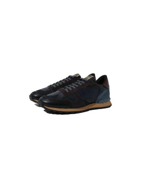 Синие комбинированные текстильные кроссовки на шнуровке Valentino