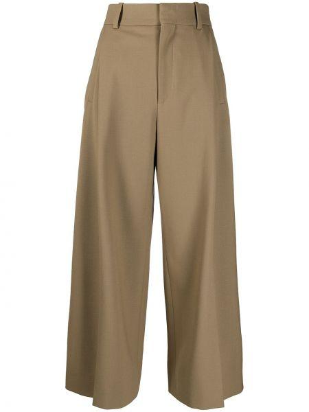 Шерстяные коричневые укороченные брюки с потайной застежкой Chloé