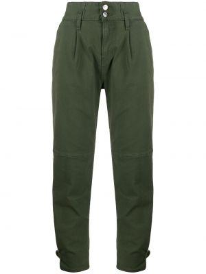 Хлопковые зеленые джинсы-скинни с высокой посадкой на молнии Veronica Beard