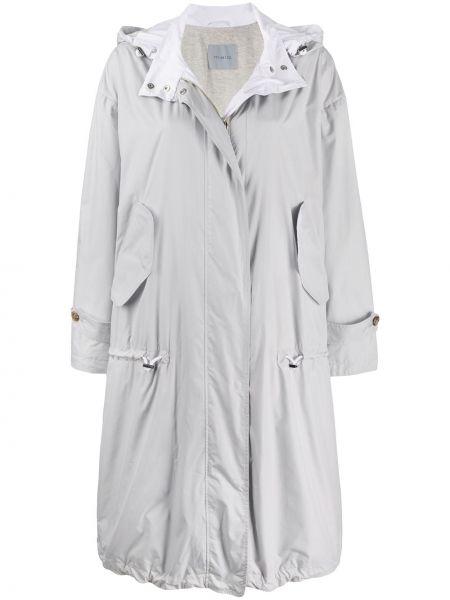 Серое длинное пальто оверсайз с капюшоном Malo