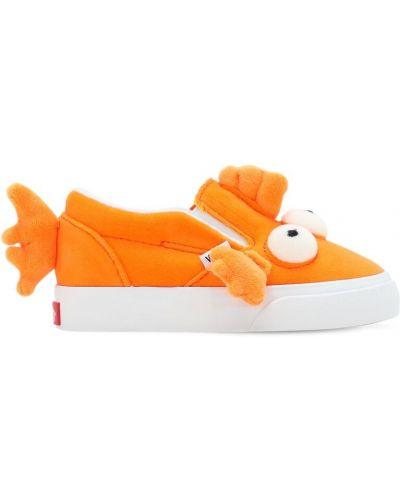 Pomarańczowy aksamit sneakersy z wkładkami na gumce Vans