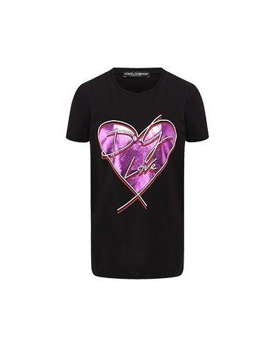 Хлопковая футболка - черная Dolce&gabbana