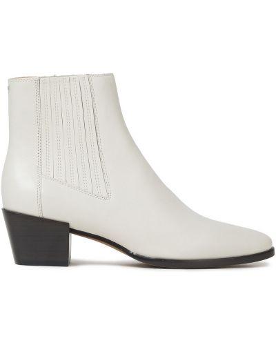 Białe ankle boots skorzane na obcasie Rag & Bone