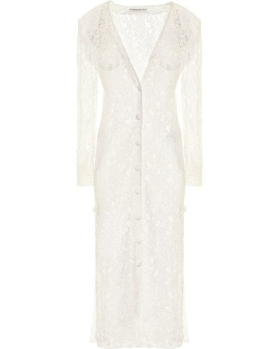 Кружевное белое гипюровое платье миди на шнурках Alessandra Rich
