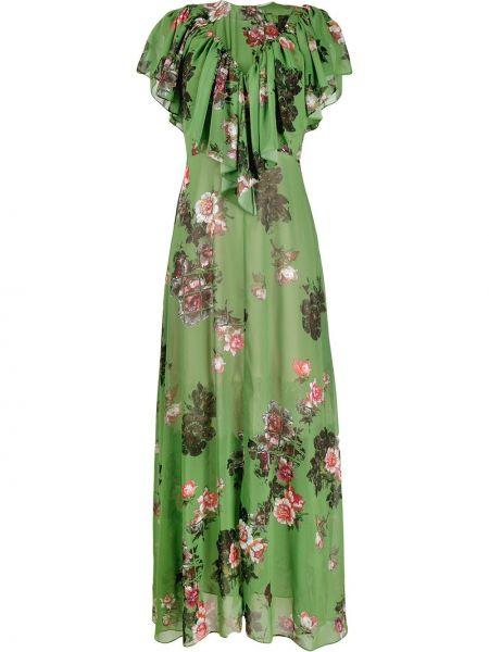 Нейлоновое приталенное платье с оборками с вырезом Preen By Thornton Bregazzi