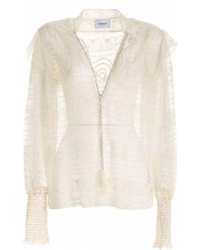 Bluzka koronkowa z długimi rękawami - biała Dondup