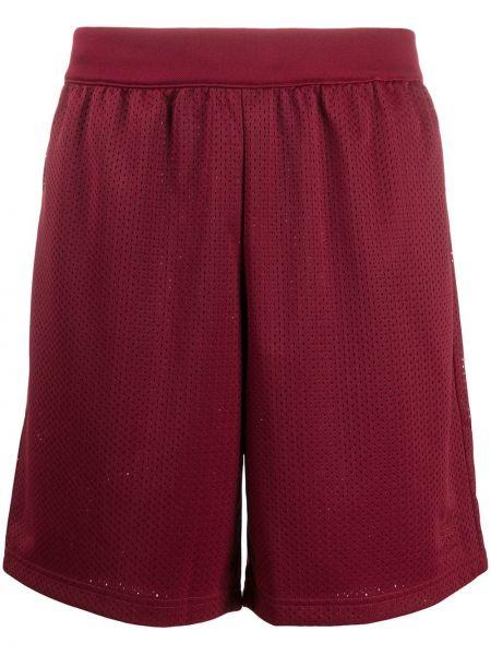 Czerwony bawełna bawełna szorty sportowe z kieszeniami Adidas