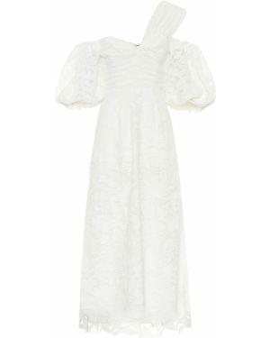 Кружевное белое платье миди на шнурках Self-portrait