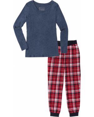 Пижамная синяя фланелевая пижама с брюками с длинными рукавами Bonprix