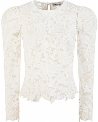Шифоновая кружевная белая блузка Self-portrait