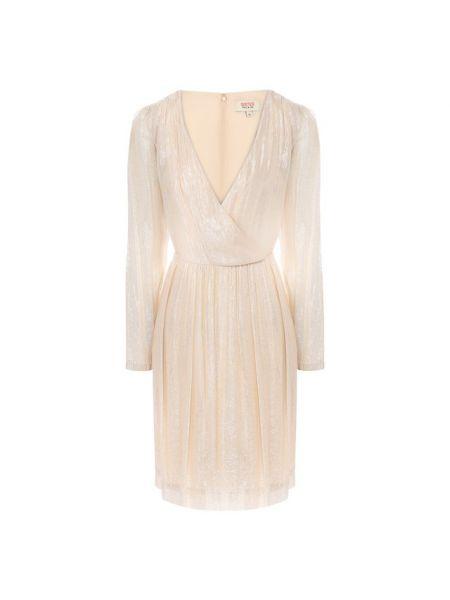 Бежевое платье с декольте из вискозы с подкладкой Paul&joe