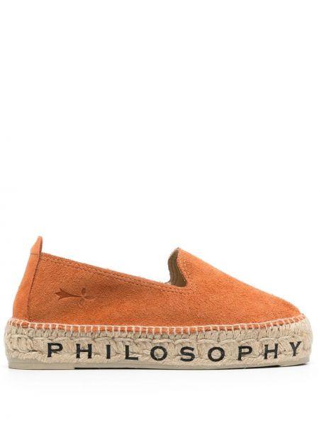 Коричневые кожаные эспадрильи на каблуке Philosophy Di Lorenzo Serafini