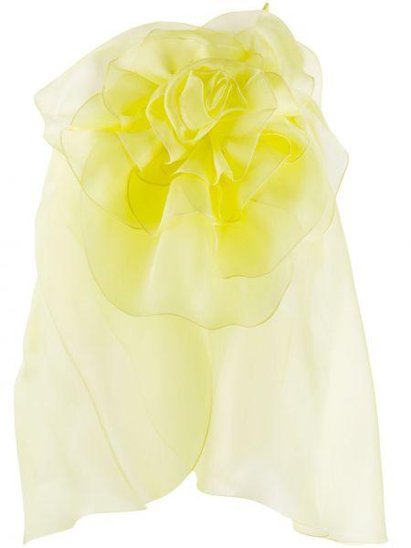 С ремешком желтый асимметричный топ из органзы Blumarine