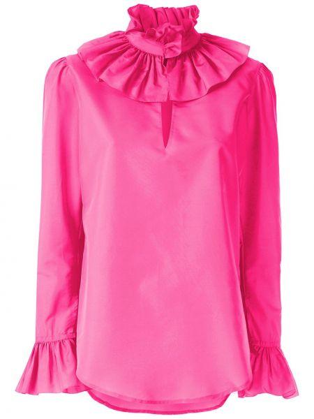 Розовая шелковая блузка с воротником Reinaldo Lourenço