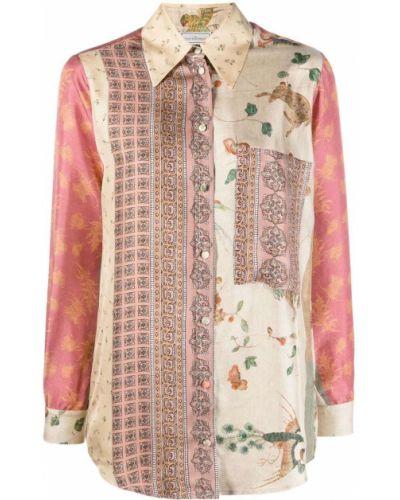 Шелковая рубашка с воротником на пуговицах Pierre-louis Mascia