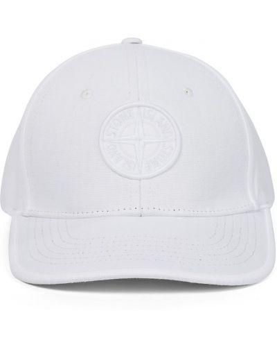 Biała czapka bawełniana Stone Island Junior