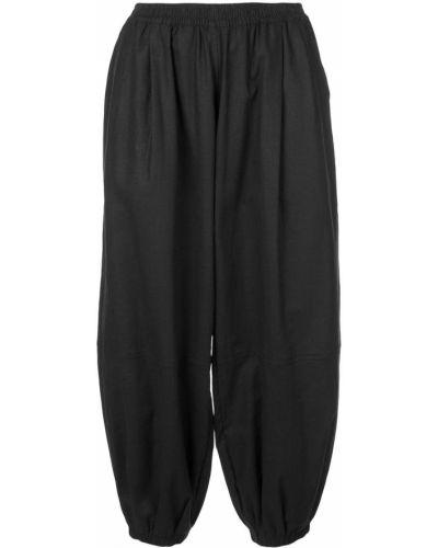 Черные свободные брюки с поясом с манжетами узкого кроя The Celect