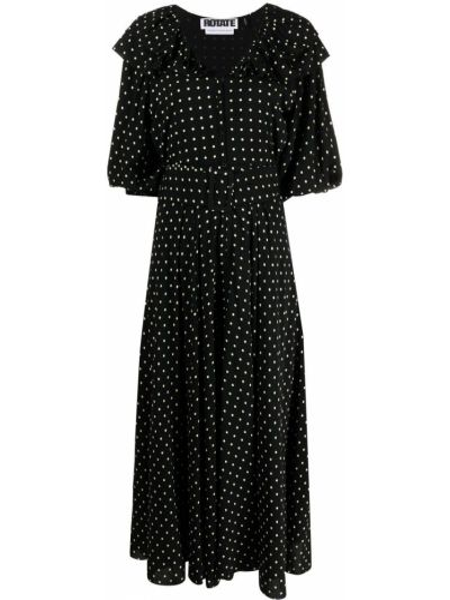 Платье миди в горошек - черное Rotate