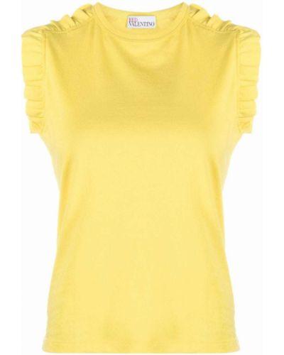 Żółty top bez rękawów bawełniany Red Valentino
