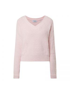 Prążkowany różowy sweter z dekoltem w serek Catwalk Junkie