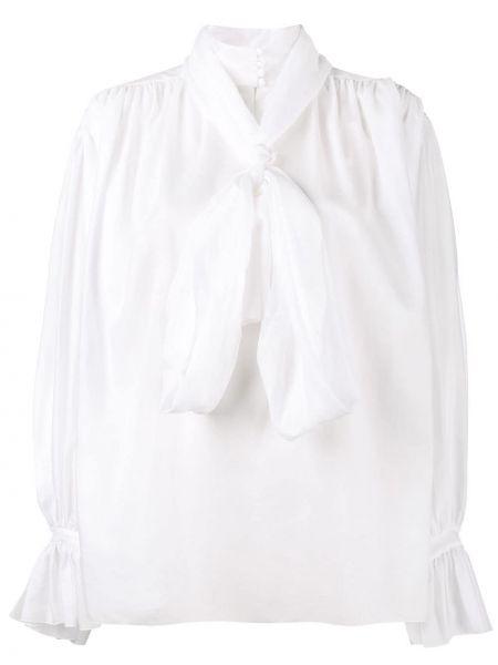 Мягкая с рукавами хлопковая белая блузка с длинным рукавом Vika Gazinskaya