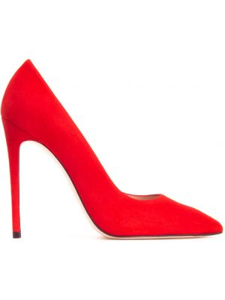 Кожаные красные туфли-лодочки с декоративной отделкой Stuart Weitzman