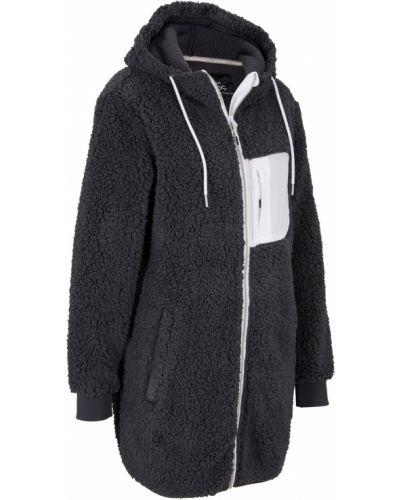Серая плюшевая куртка с карманами Bonprix