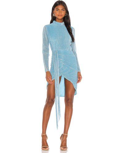 Niebieski pofałdowany sukienka prążkowany metal Atoir