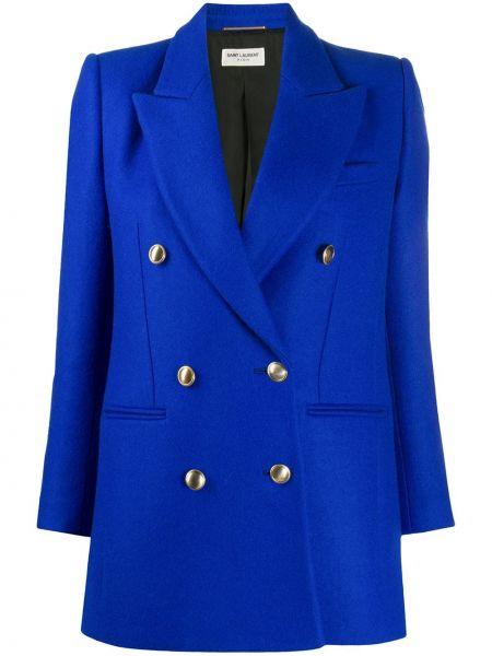 Шерстяной пиджак - синий Saint Laurent
