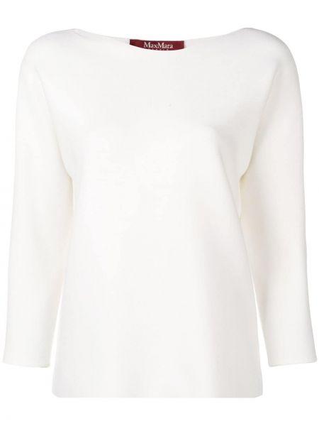 Прямой белый классический свитер из вискозы Max Mara Studio