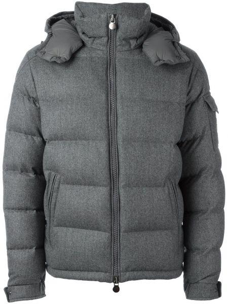 Серая куртка с капюшоном на молнии с манжетами с карманами Moncler