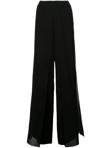 Czarne spodnie z wysokim stanem z jedwabiu Akris