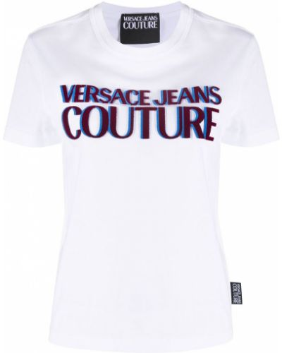 Хлопковая белая футболка с вырезом Versace Jeans Couture
