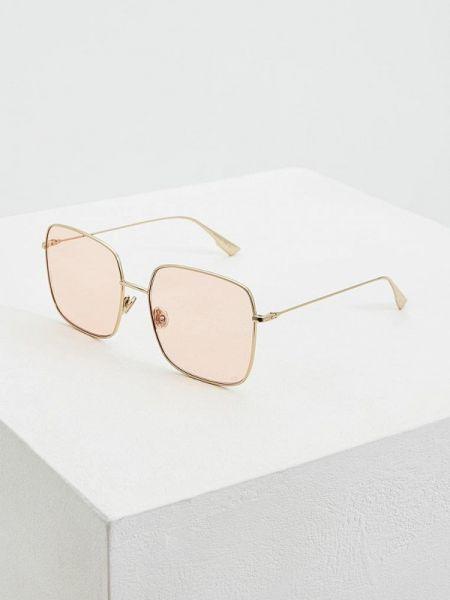 Муслиновые солнцезащитные очки прямоугольные золотые Christian Dior