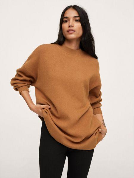 Sweter oversize - brązowy Mango